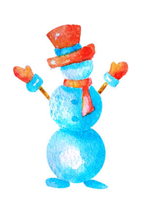Watercolor Christmas snowman in a red hat and scarf with outstretched arms on a white on isolated. 版權商用圖片