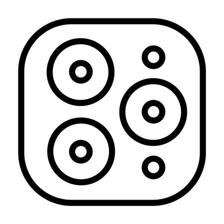Triple camera symbol icon of a modern phone. Three multifunction cameras of the new 2019 year mobile. Abstract circles on a square rounded tablet similar to a cooker. Vector illustration