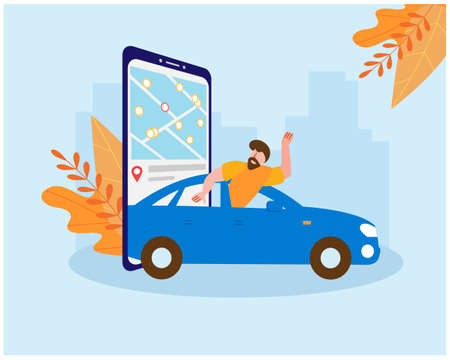Carsharing. Man rides in a blue car escapes from the cold weather of autumn. On the smartphone screen, a map of the choice of the nearest parking lot is open. Vector illustration