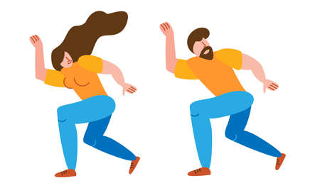 A pair of characters people in love dancing a joyful and enthusiastic dance together in a flat style on a white background isolated. 向量圖像