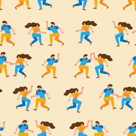Seamless pattern dancing couple spend time together. Happy cartoon characters of people in 50s retro style. Romantic characters people activity illustration. Flat simple vector illustration.