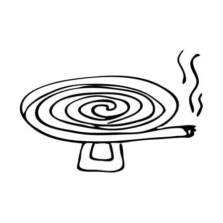 Anti-mosquito coil. The spiral burns and smokes fending off insects. Hand drawing sketch vector illustration isolated on white background.