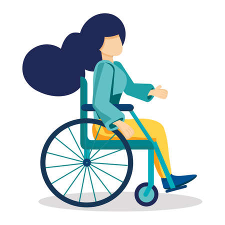 Young strong woman sits in wheelchair. Invalid girl living with disability, equal opportunities concept  Cartoon vector illustration isolated on white  background