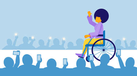 African American disabled woman clothing model walks the catwalk in Fashion Week. The concept of equal opportunity. A person with disabilities works and employes. Vector illustration in a flat style Illusztráció