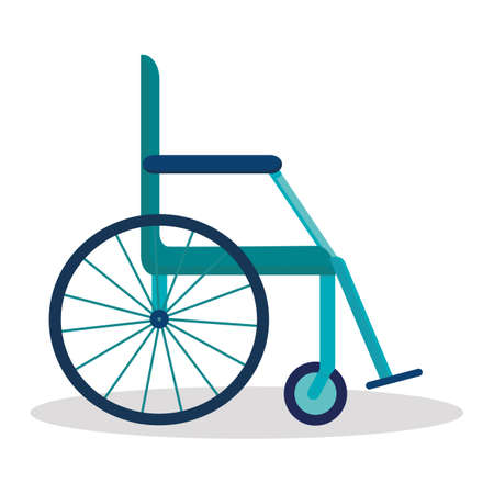 Empty wheelchair in the hospital material design object. Transport for handicapped in case of illness, injury, or disability. Vector flat cartoon illustration, isolated, white background