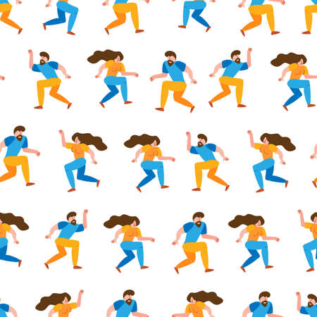 Seamless pattern dancing happy  couple spend time together in flat simple style. Vector illustration