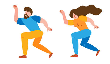 Joyful and happy dance in a flat style. A pair of people characters spend time together. Couple moves one way andcelebrates valentines day festival on white background isolated