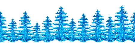 Seamless border watercolor  blue spruce, pine. Linear pattern of cedar, larch, abstract forest. On white isolated background. Silhouette panorama of a coniferous forest. Detailed forest background