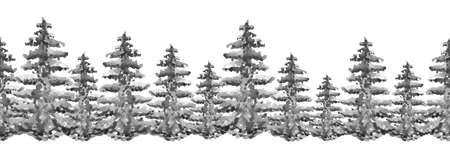 Dark black silhouette panorama of a coniferous forest. Seamless border watercolor spruce or pine. Linear pattern of cedar, larch. On white isolated background. Detailed forest background.