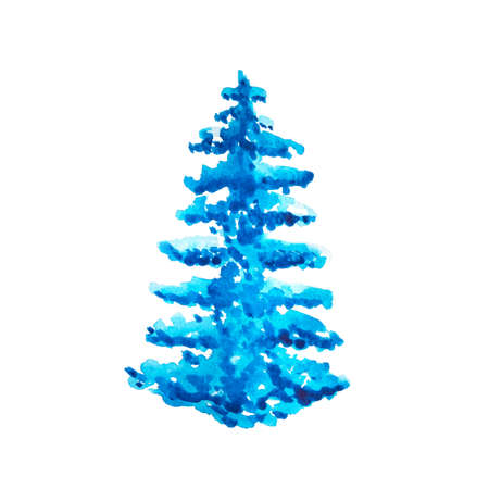 Watercolor blue conifer fir tree with snow on the branches isolated on a white background. Hand-drawn Christmas and New Year symbol