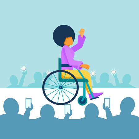 A young black African American girl with a disability in a wheelchair rides on the catwalk at a fashion show. A disabled person is a top model in a fashion house. Vector flat illustration  イラスト・ベクター素材
