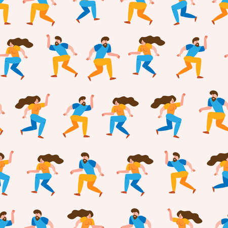 Seamless pattern young man and woman friends dancing together to party music on isolated background. Stylish people at festival event, outdoor concert or club dance floor. Flat simple style