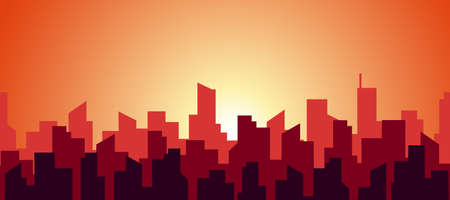 Seamless panorama of a hot morning in a big city. The silhouette of the roofs of skyscrapers in red and orange warm sunny color. Vector abstract flat endless illustration