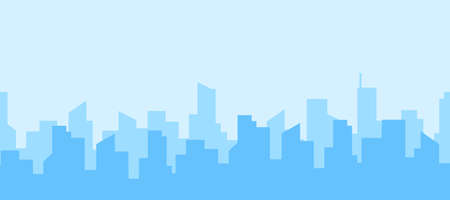 Seamless panorama of city skyline. Three rows of streets against a clear sky. Urban landscape. Daytime cityscape in flat style.Vector illustration