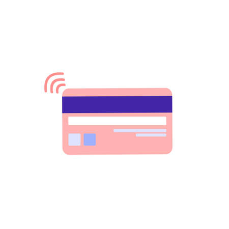 Back side bank card with magnetic tape and stripe with code. Contactless payment for purchases. Color vector illustration isolated on white background.