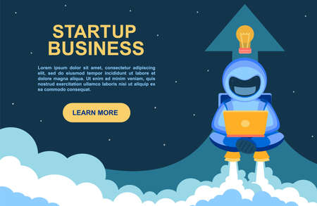 Startup business. Banner for a website with an astronaut working diligently on a laptop. Cosmonaut takes off on a jetpack. A space man comes off the earth in smoke. Vector flat illustration. Иллюстрация