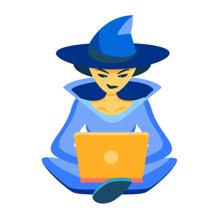 IT witch. The sorceress works on the laptop in a suit of the sorceress. Congratulations on Halloween for co-writers, programmers, writers. Concentratedly programs or writes a text even on a holiday 向量圖像