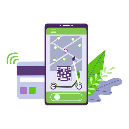 A mobile app for renting electric kick scooters and the opportunity to dispense the service with non-cash payment. On the smartphone screen, a card with a scooter unlock code depositing money. Vector. Vectores