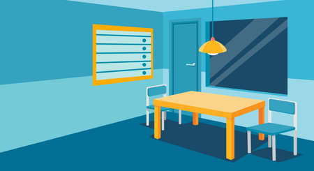 Interrogation room in police station, empty interior for questioning crimes with table and two chair, height scale and glass window, door, place for interview arrested people. Vector illustration.