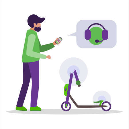 Broken rented kick electric scooter. A young man writes in an app, calls technical support by phone to repair and pay insurance. Vector illustration on a white background.