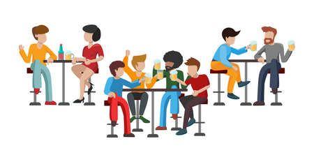 People drink beer. Friends are sitting on high bar stools. Three tables. Two pairs of characters talk. A woman is drinking wine with a man. Group of 4 friends raise a toast. Vector flat illustration