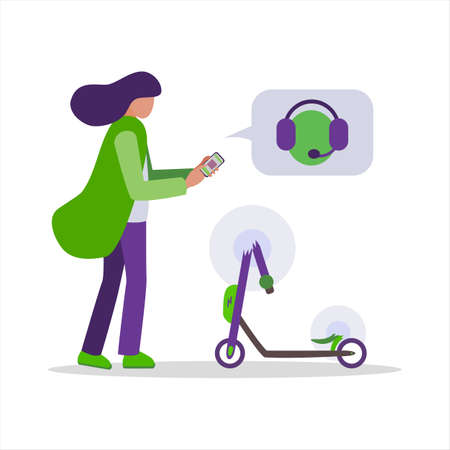 Young woman found a broken rented kick electric scooter. The girl writes to the app and calls technical support by phone to repair and pay insurance. Vector illustration on a white background