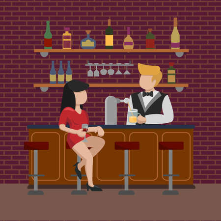 A young girl in a red dress sits on a high bar stool and waits for an order for a glass of beer. The bartender pours alcohol into a mug. The interior of the bar cafe pub. Vector flat illustration.