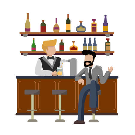 Drinking establishment. Young businessman  sitting at bar counter. Guy orders a glass of foamy light beer and talking with barkeeper. Pub bartender serving client. Bar beer tap pump, stools, bottles