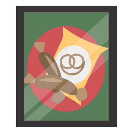 A yellow pretzel packet and two bavarian sausages on a poster. Placard framed and under glass with glare. Vector flat illustration. The concept of a delicious appetizer for beer.  イラスト・ベクター素材