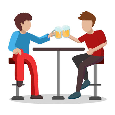 A pair of male friends are drinking light beer at a table on high bar stools. Characters raise glasses with foam and laugh. Vector illustration isolated on white background. Ilustração Vetorial