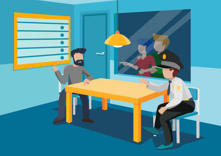 Interrogation room with a table, two chairs, rear window, lamp on top. At the table, a policeman and a criminal. Behind the glass, a girl with a man.  Vector illustration.