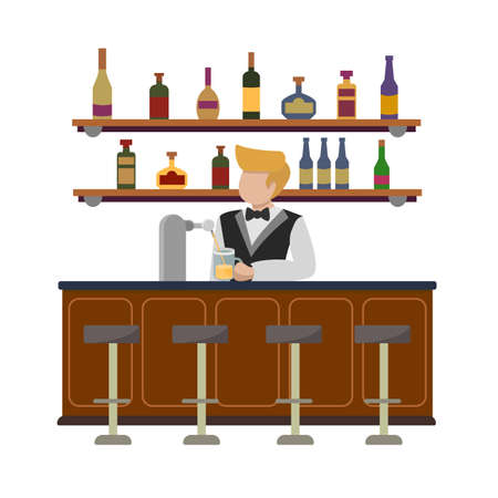 A young professional bartender at the bar pouring beer from tap. Restaurant cafe interior with shelves with wine, tequila, rum. Barmen in a suit with a bow tie. Vector flat illustration isolated.
