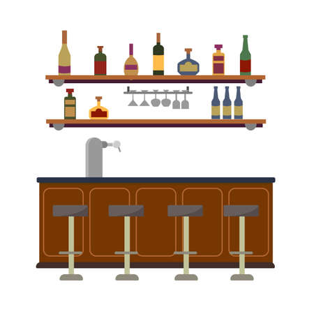Empty bar counter interior with beer pump faucet. On the wall is a shelf with glasses and liquid alcoholic drinks. Rum, wine, tequila. Vector flat illustration isolated on white background.