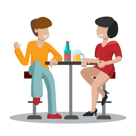 Date man and woman in a red dress. A couple of people are sitting on high bar stools at a table and drinking beer and wine. friends talk and relax. Isolated on white background vector illustration.