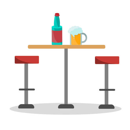 Bar long round chairs and a circle table in profile. A mug of foamy beer and a bottle on a wooden countertop. Red stool isolated on a white background. Flat vector illustration.