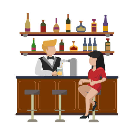 A young woman in a red dress sits on a high bar stool Girl waits for an order for a glass of beer. The bartender pours alcohol into a mug. Interior of the bar cafe pub.Isolated in white background.