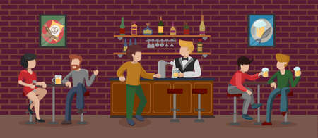 Bar interior room in building with brown brick wall. People having fun, sitting on high bar stools and drinking beer. The bartender at the counter pours alcohol to the visitor. Vector illustration.
