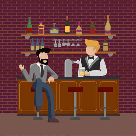 Young businessman in suit sitting at bar counter in friday night. Guy orders a glass of  beer. Pub bartender serving client. Bar beer tap pump, stools, bottles. Drinking establishment.