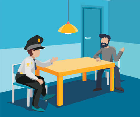 A police investigator interrogates a criminal in an interrogation room. An attacker and an officer are sitting at a table in a blue interior with a lamp and a door. Vector flat illustration. Illustration