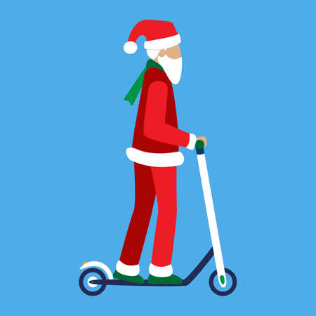 Modern Santa Claus rides an electric kick scooter isolated. An old senior man with a white beard and hair uses eco-friendly urban transport. For New Year and Christmas promotions rental or sharing. Illustration