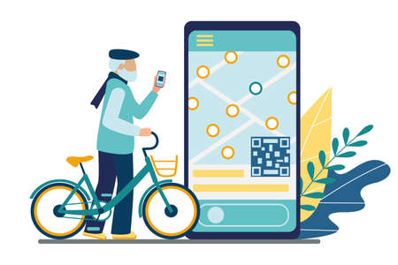 Bicycle rental mobile app. Bike sharing. Old man senior using a smartphone unlocks an electric bike for a trip. On the phone screen is a map with locations of parking and qr code. Vector illustration  イラスト・ベクター素材