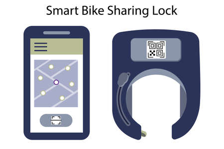 Unlocked smart bike lock against thieves and for rental and sharing services of bicycles or scooters. The lock on the wheel opens using a mobile app and qr code or wireless key. Vector