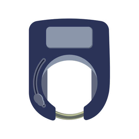 Closed smart bicycle lock in the form of a horseshoe on a white background isolated. Theft protection and payment methods for rent or sharing. Vector flat illustration.