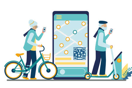 A couple of active old people rent an urban transport using the mobile app for unlocking. Healthy seniors share kick scooter and pedal bike. Vector flat illustration isolated on white background