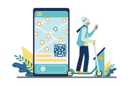 Alte Frau nutzt den Tretroller-Verleihservice über eine mobile App zum Mieten oder Teilen von ökoelektrischen Stadtverkehrsmitteln. Auf dem Smartphone-Bildschirm eine Karte und ein QR-Code zum Aktivieren. Vektor-Illustration.