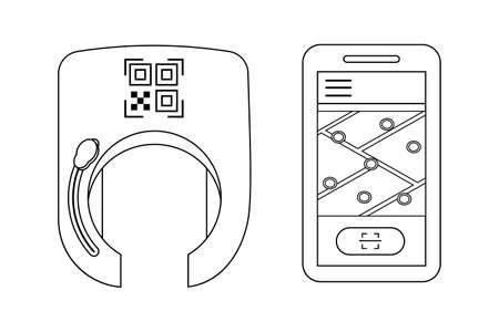 Opening smart bike lock against thieves and for rental and sharing services of bicycles or scooters. The lock on the wheel opens using a mobile application and qr code. Vector illustration