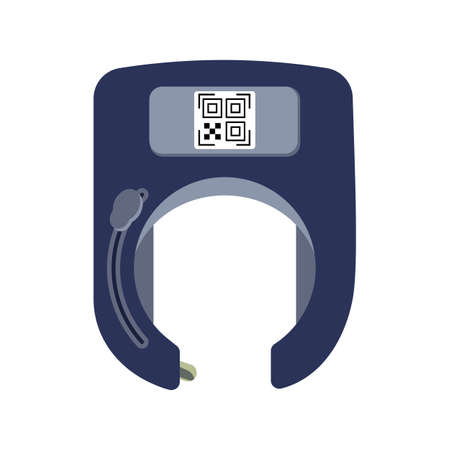 Unlocked open smart bicycle lock in the form of a horseshoe with a QR code on a white background isolated. Theft protection and methods of payment for rent and sharing. Vector flat illustration