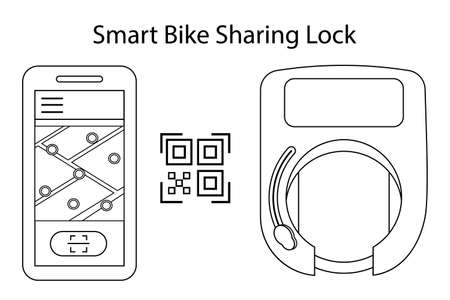 Smart bike lock for rental and sharing services of bicycles or scooters. The lock on the wheel opens using a mobile app and qr code or wireless key. Vector illustration outline.