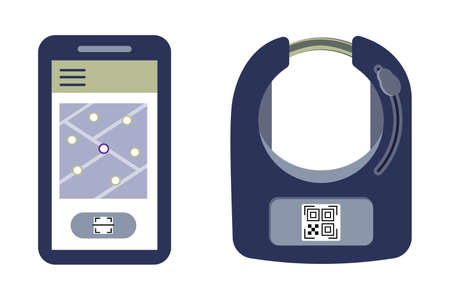 Smart bike lock against thieves and for rental and sharing services of bicycles or scooters. The lock on the wheel opens using a mobile app and qr code or wireless key. Vector illustration.