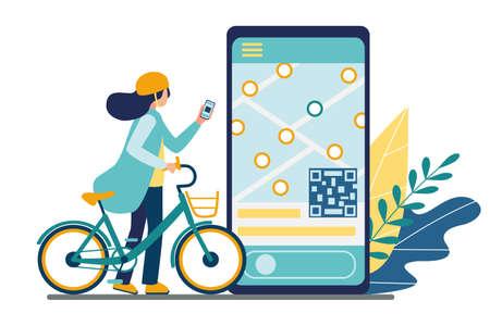 Aplicación móvil de alquiler de bicicletas. Compartir bicicleta. Una niña que usa un teléfono inteligente desbloquea una bicicleta eléctrica para un viaje. En la pantalla del teléfono hay un mapa con la ubicación de los estacionamientos y el código QR. Ilustración vectorial